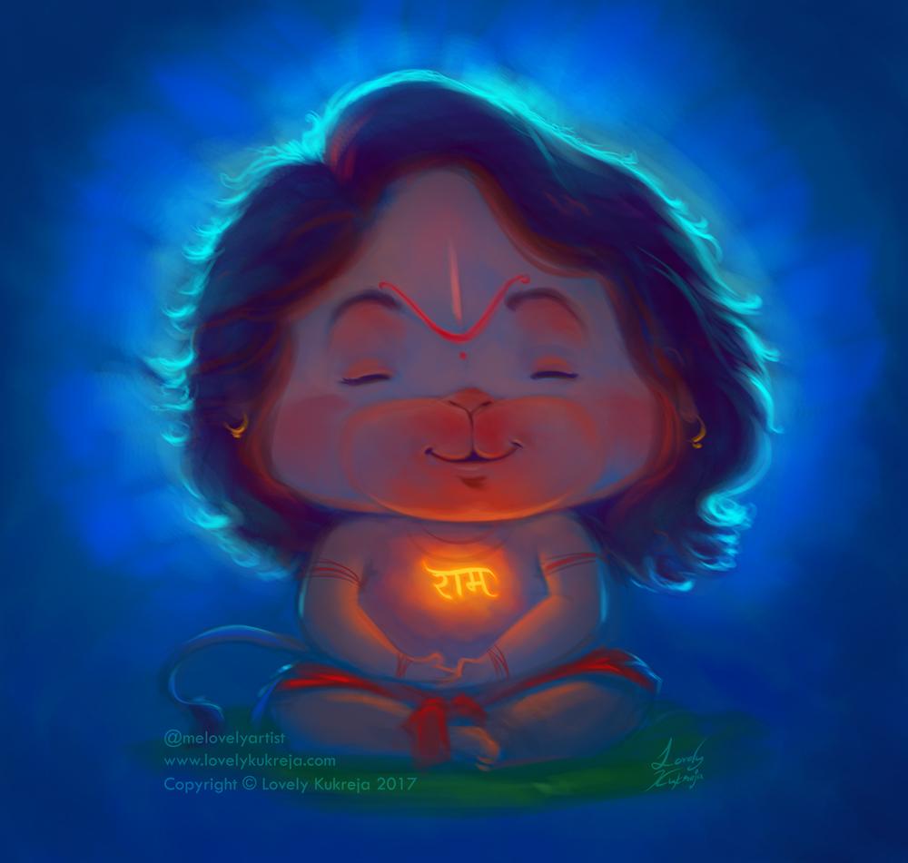 digital art illustration hanuman