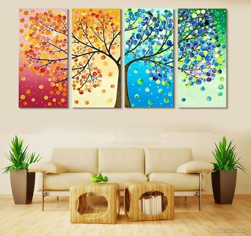 wall art split panel tree painting