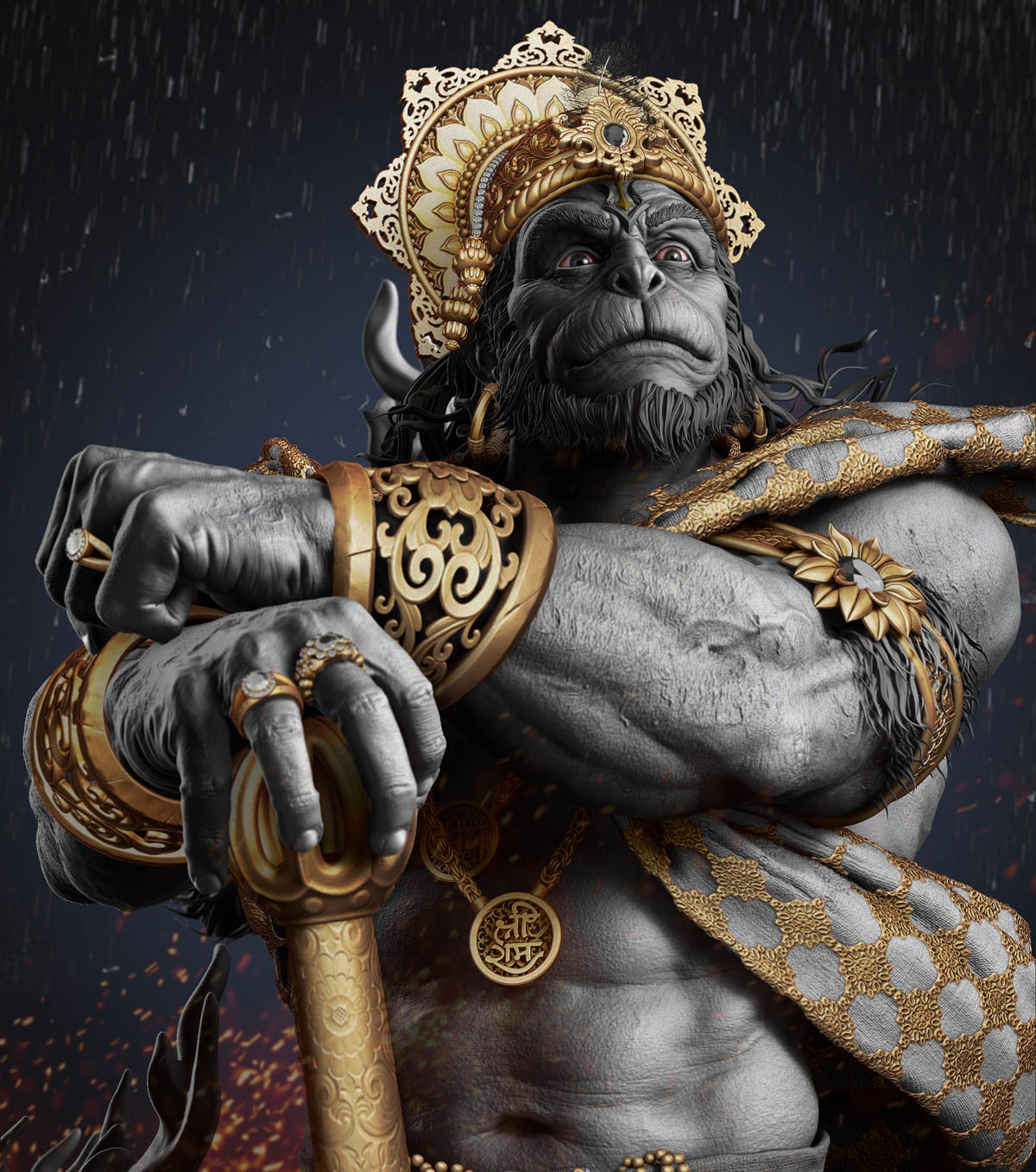 zbrush model sculpture god hanuman by gaurav kumar