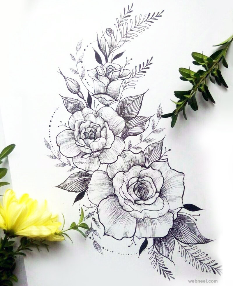 Flower drawing rose 4 thecheapjerseys Choice Image
