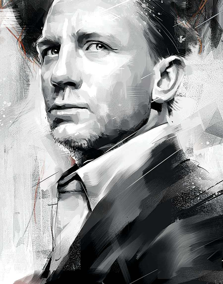 painting artwork james bond