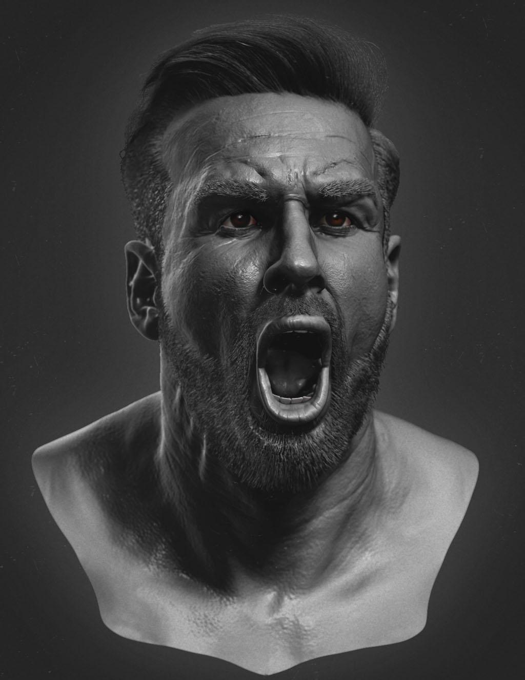 zbrush model face man by gaurav kumar