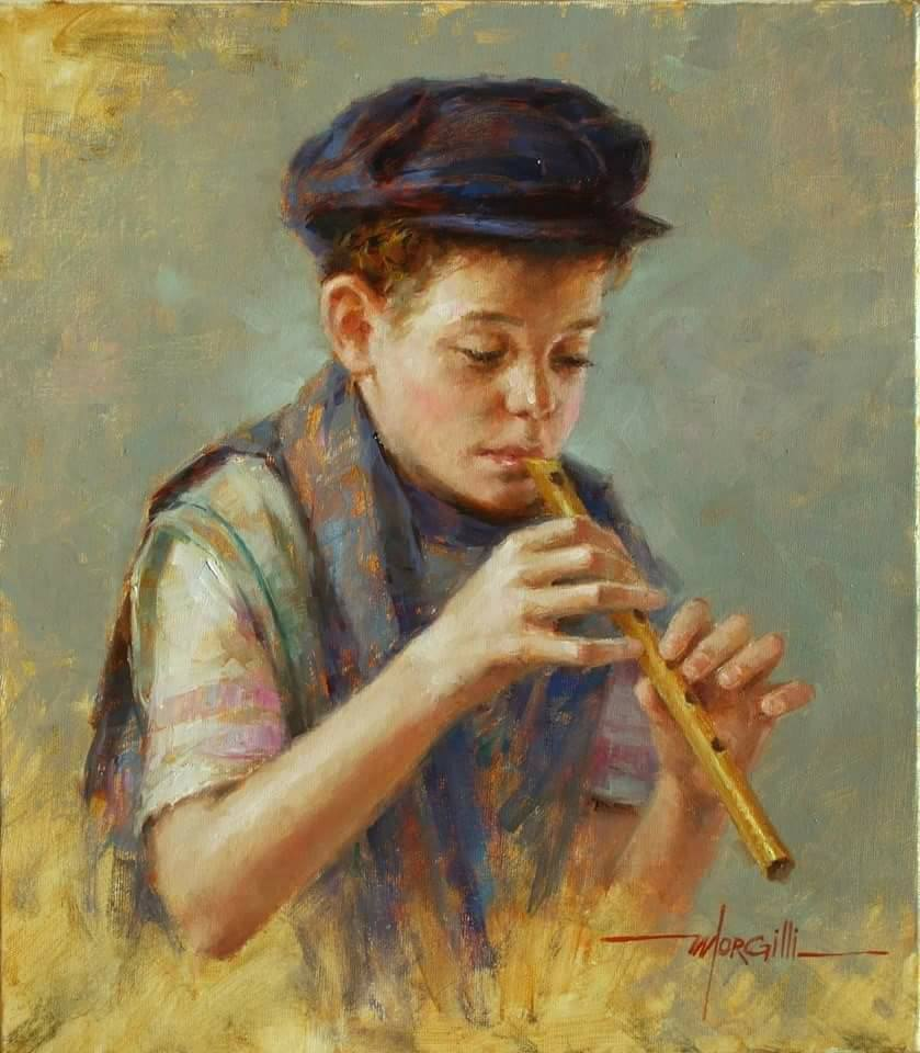 oil painting flute boy by luis claudio morgilli