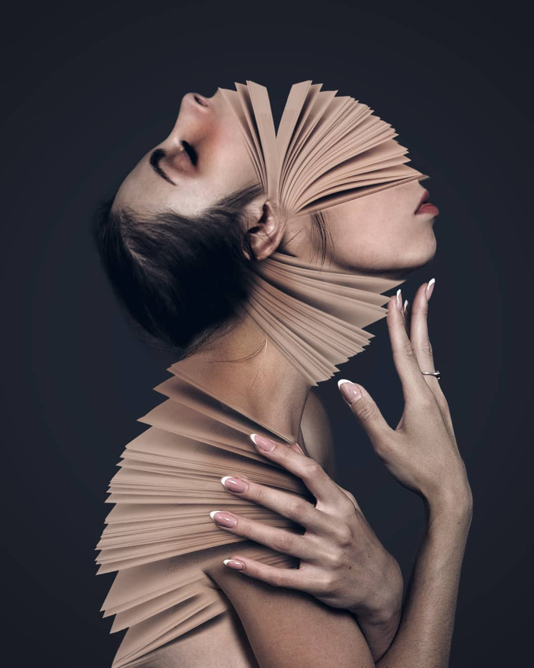 photo manipulation book flipping face by stina walfridsson