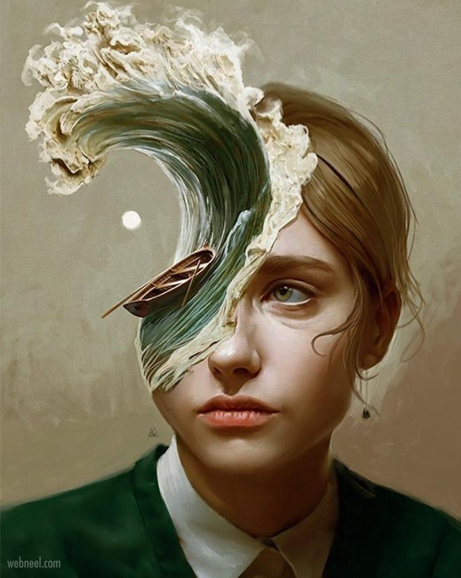 digital art surreal painting woman wave by aykutaydogdu