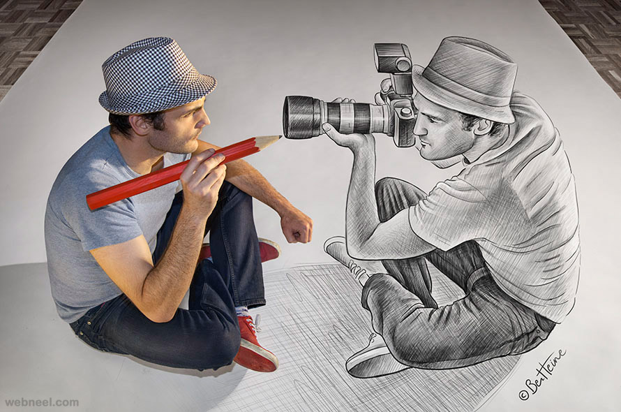 pencil drawing vs camera by ben heine