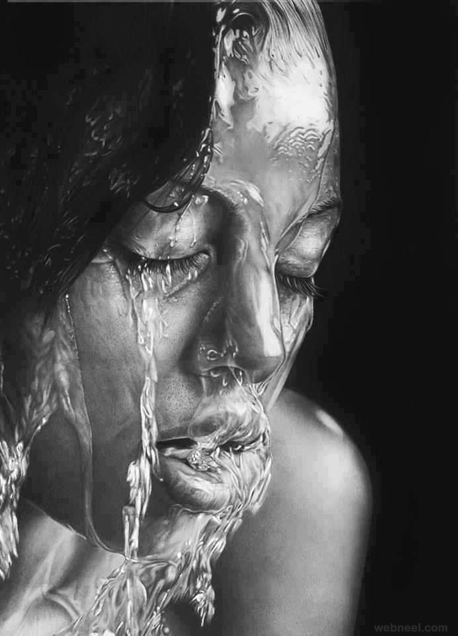face water africa realistic pencil drawing by tommynam