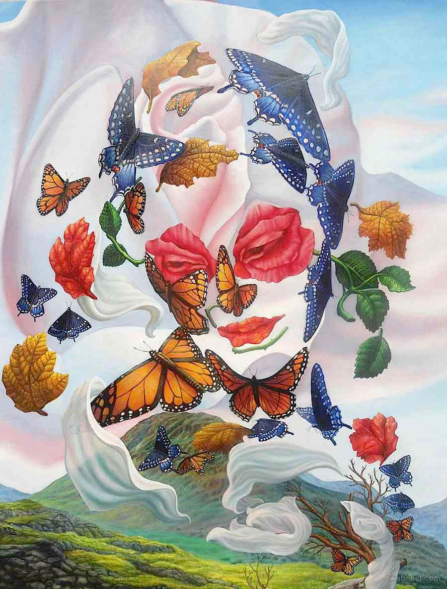 Butterfly surreal artworks by ignacio nazabal