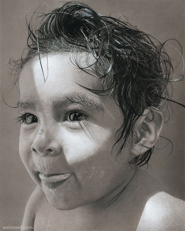 Kid realistic pencil drawing