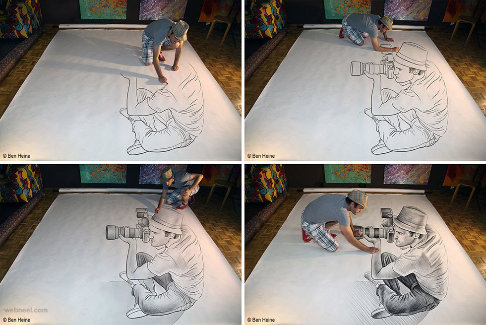 drawing versus photo by ben heine