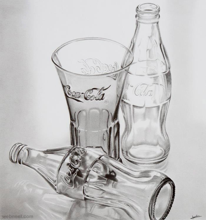 Glass Bottle Realistic Pencil Drawing By Anais Forterre 27