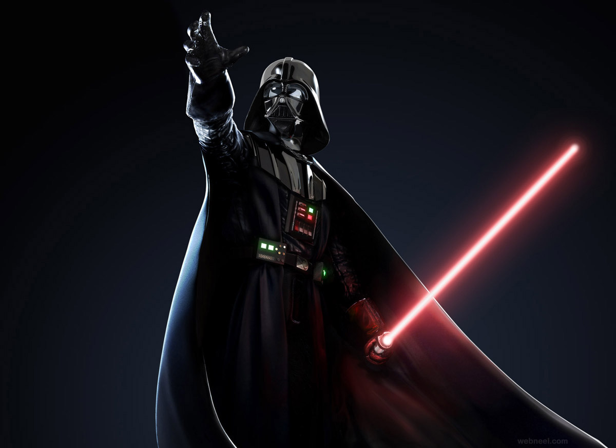 darth vader star war game 3d character design