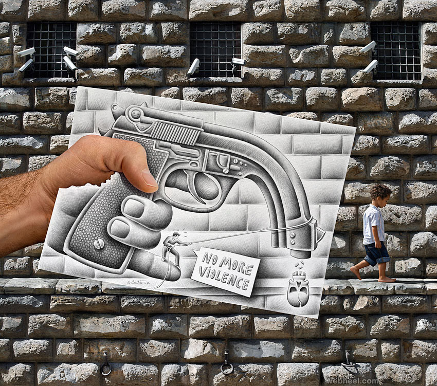 drawing versus camera by ben heine