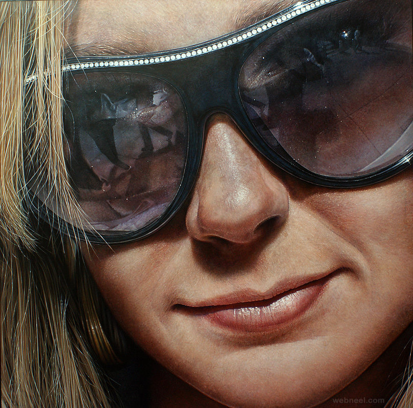 sun glass realistic acrylics painting by simon hennessey