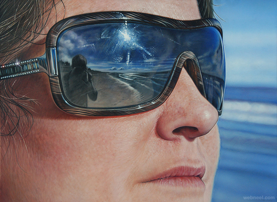 sun glass reflection acrylic painting by simon hennessey