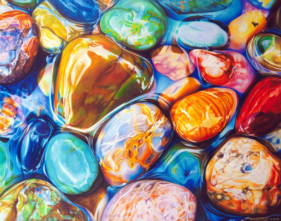realistic pebbles painting by ester roi