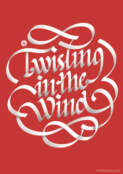 twisting in the wind creative typography design
