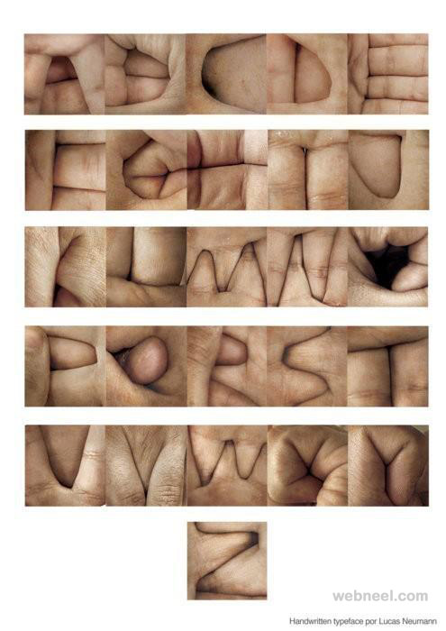 alphabets by human hand