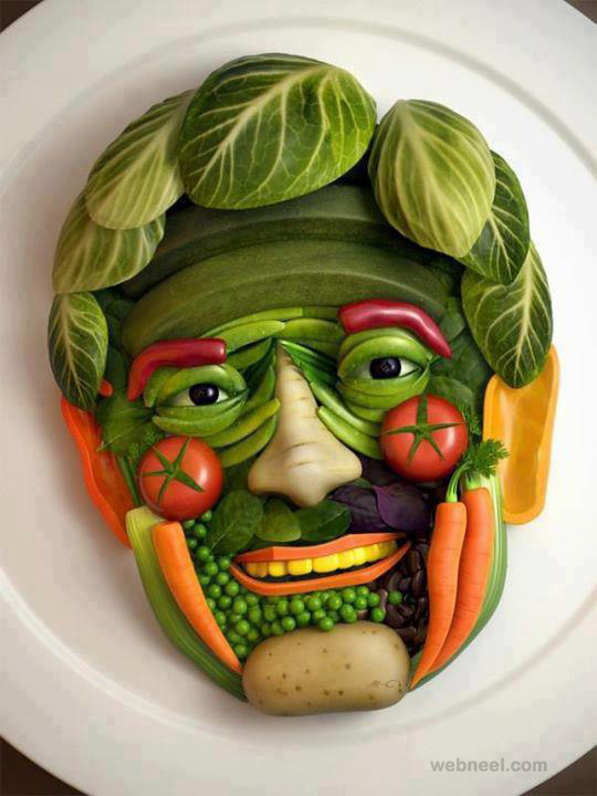 vegetable art face