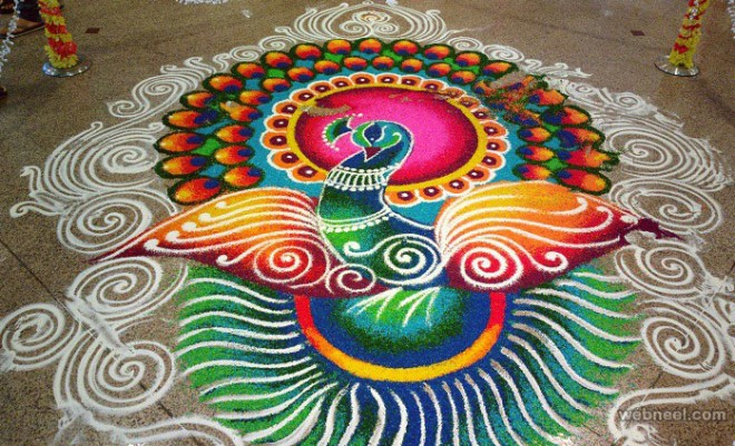 Rangoli designs for pongal sankranti with dots flowers happy new - 50 Best And Easy Rangoli Designs For Diwali Festival