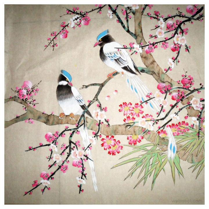 chinese painting bird cherry