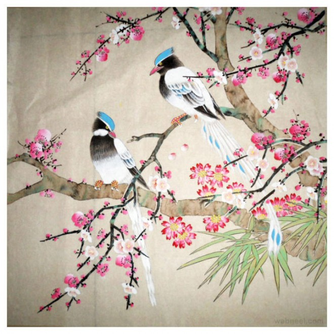 chinese painting bird cherry