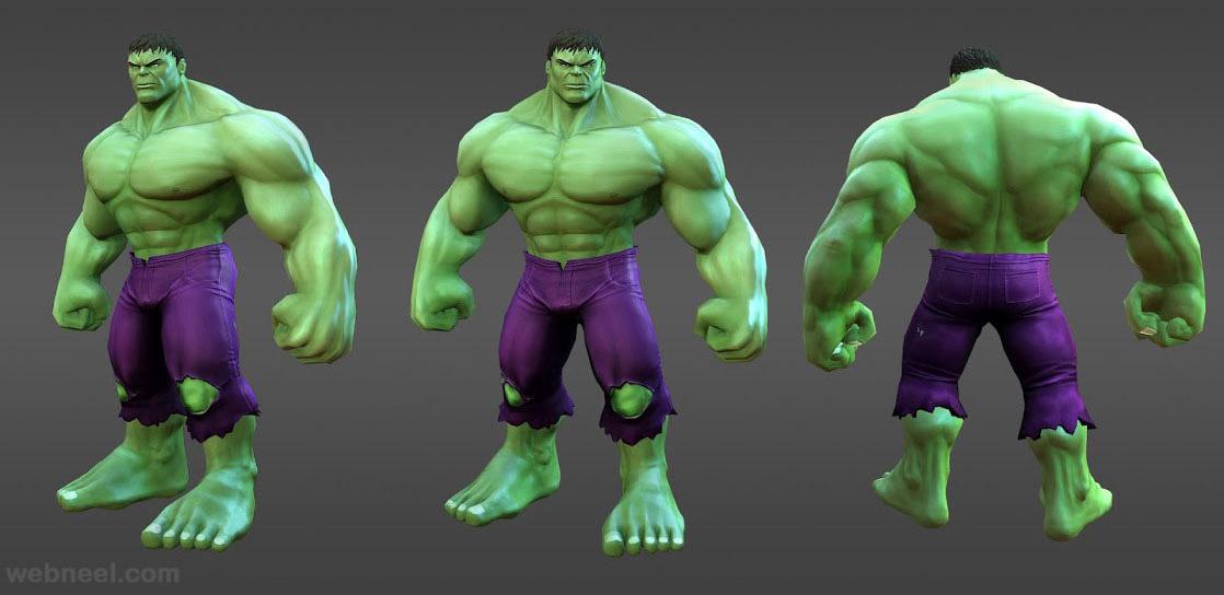 3d marvel heroes hulk model