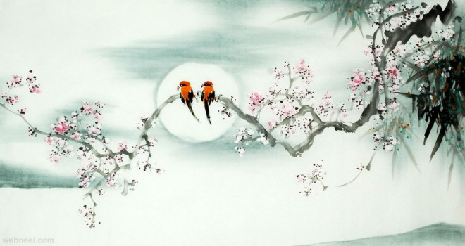 chinese painting birds
