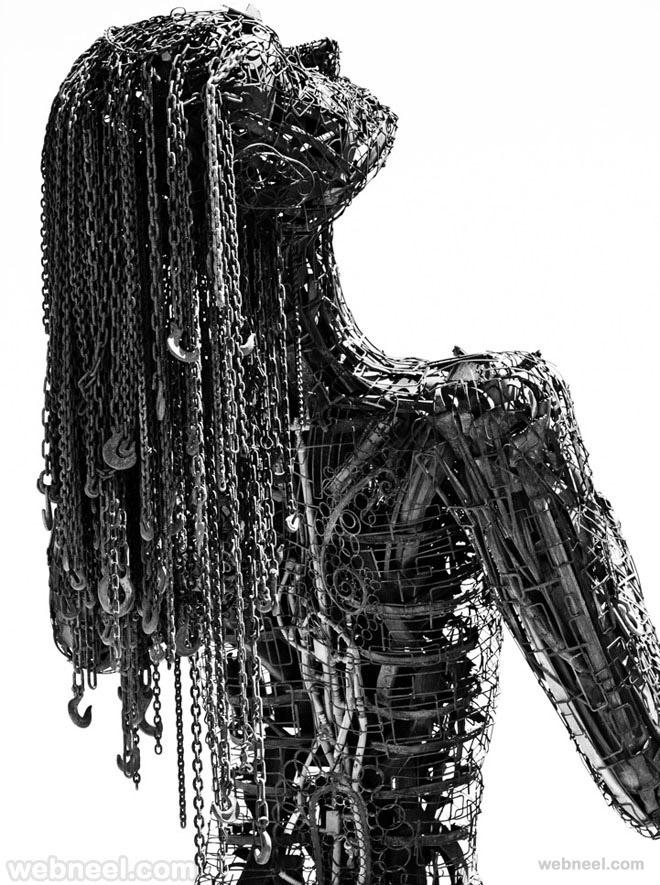 scrap metal sculptures woman