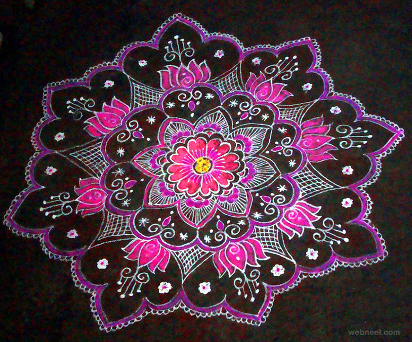 Kolam design 8 for Floor rangoli design