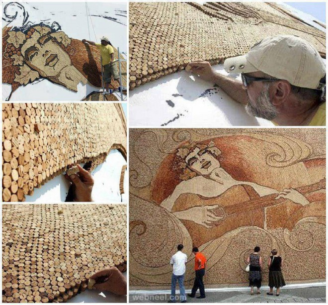 mosaic made of corks