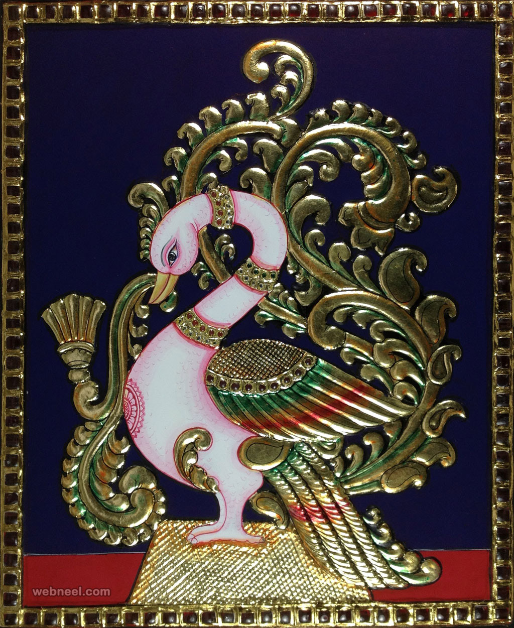 peacock tanjore paintings