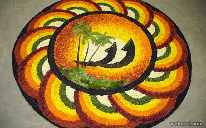 Top First Prize Simple Onam Pookalam Theme Designs Photos for Free Download