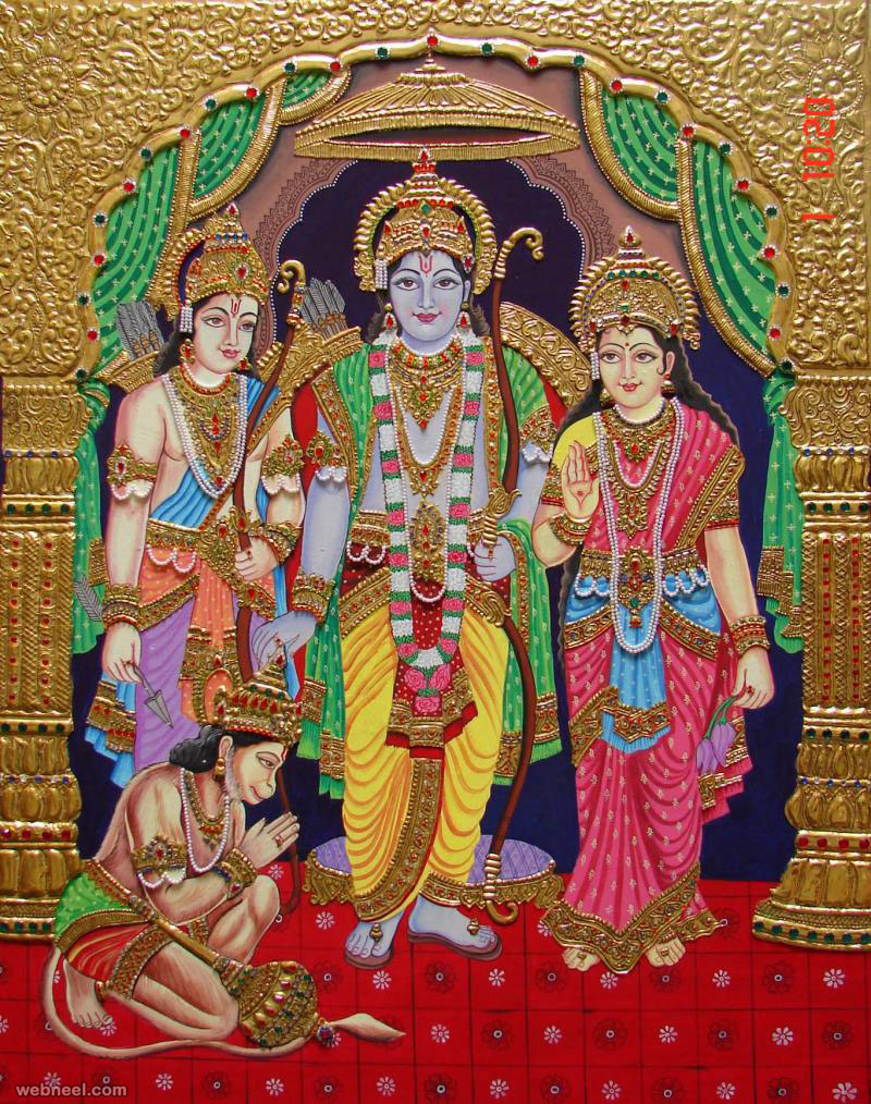 Tanjore painting rama sita 25 for Buy mural paintings