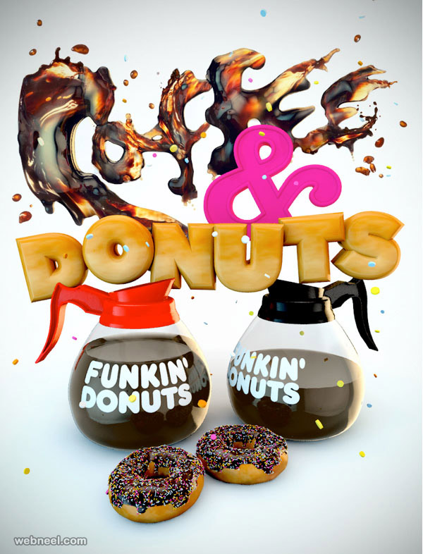 3d typography design coffee donuts