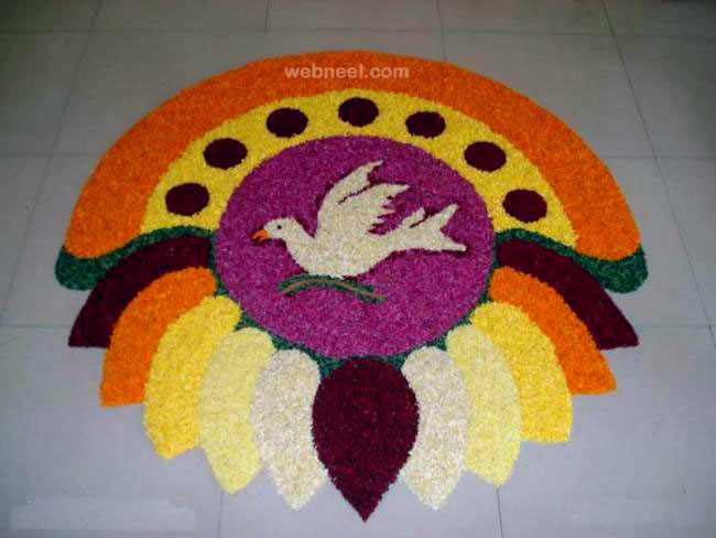 pookalam design peace bird