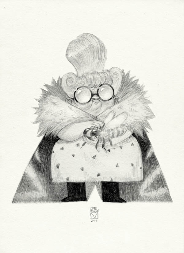pencil drawing old lady