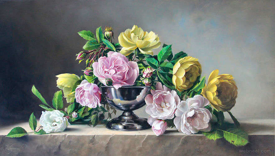 rose flower painting by wagemans