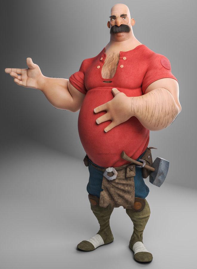 3d cartoon blacksmith man funny by gilbertoribeiro