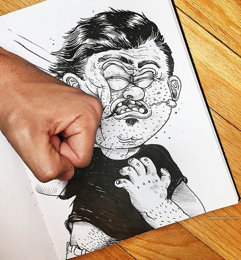 funny drawing idea punch by alexsolis