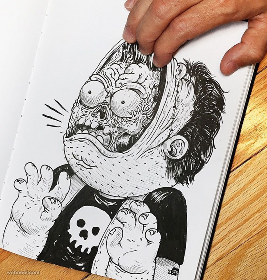 funny drawing idea pull face