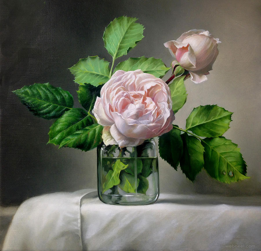 realistic rose painting flower by pieterwagemansa