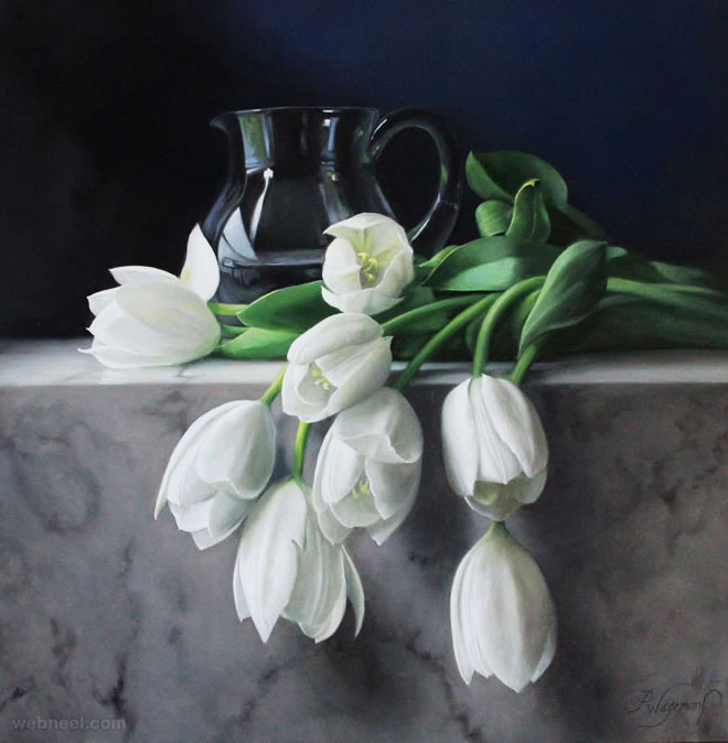hyper realistic flower painting tullips by pieterwagemansa