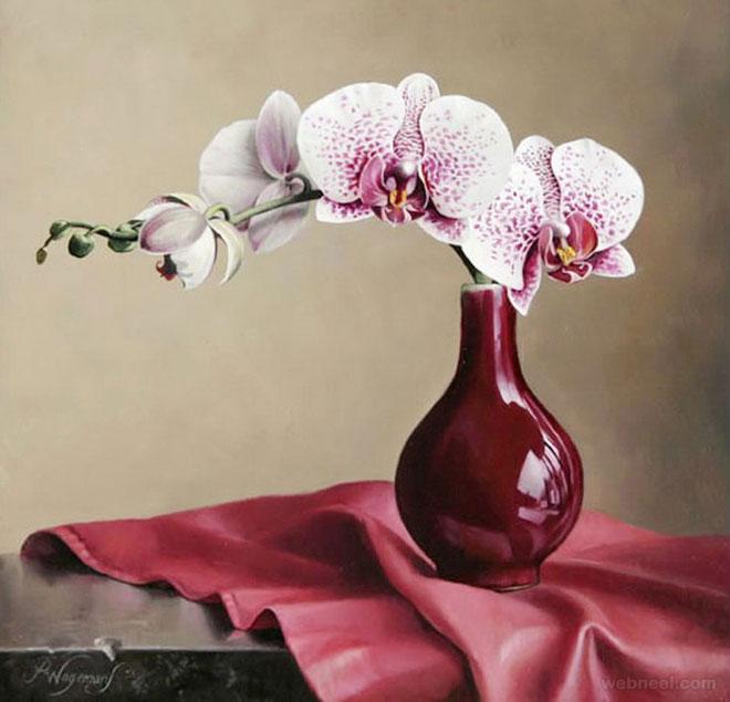 hyper realistic flower painting by pieterwagemansa