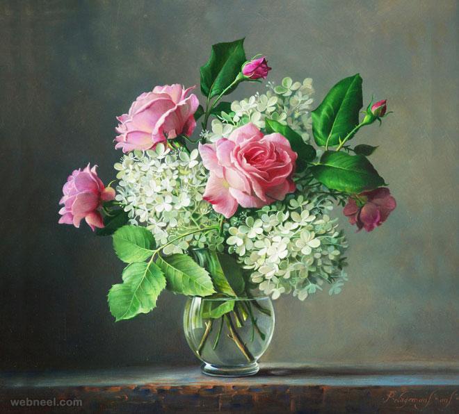 hyper realistic rose painting flower by pieterwagemansa