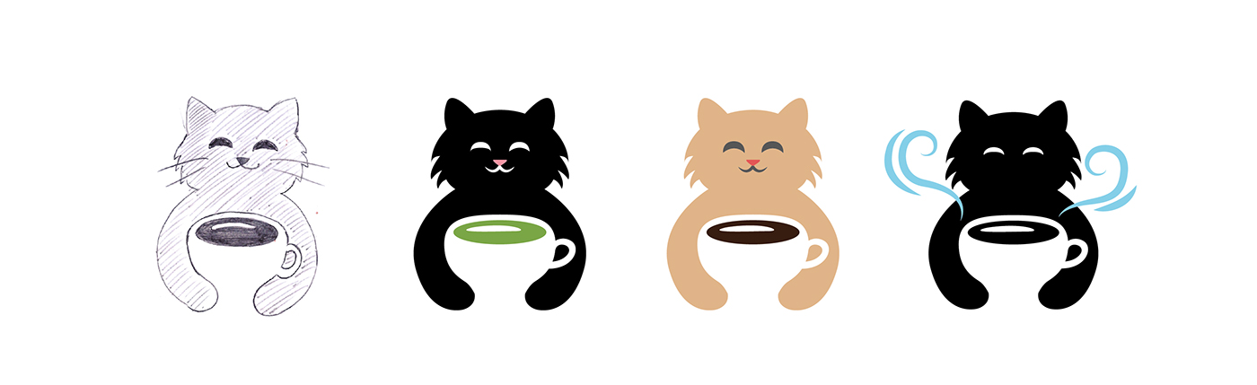 logo design cat coffee