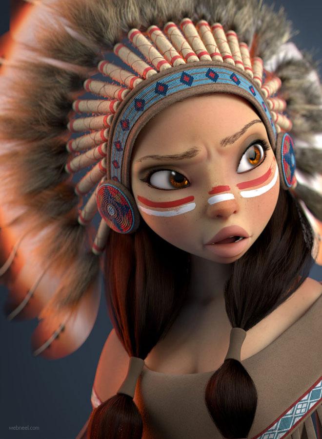 3d cartoon tribal woman