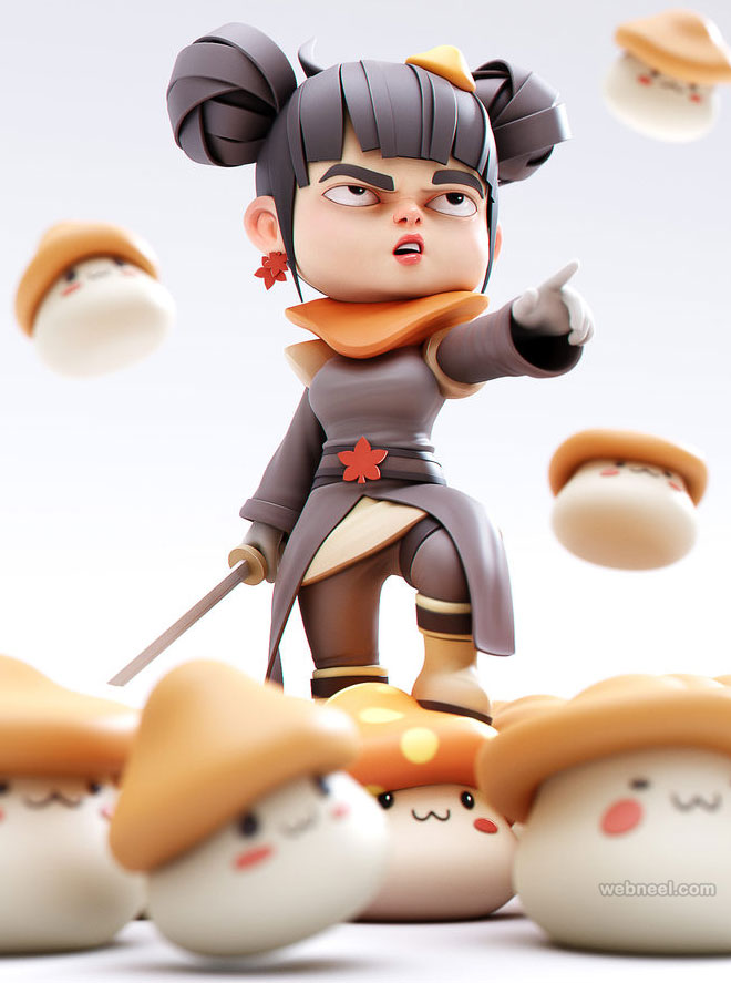 3d cartoon girl character yansculpts