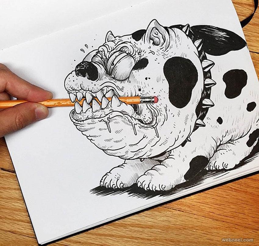 funny drawing idea dog