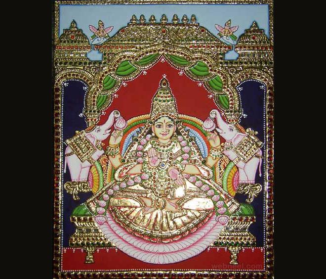 tanjore painting gajalakshmi by mythili ganesh